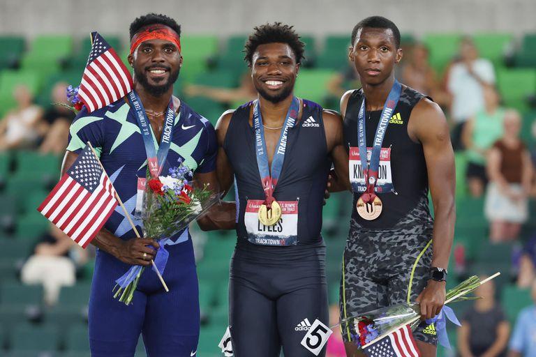 Kenny Bednarek, Noah Lyles, y Erriyon Knighton, el podio de los 200 metros del Trial de los Estados Unidos; el poderoso equipo norteamericano tiene una nueva joya con Knighton