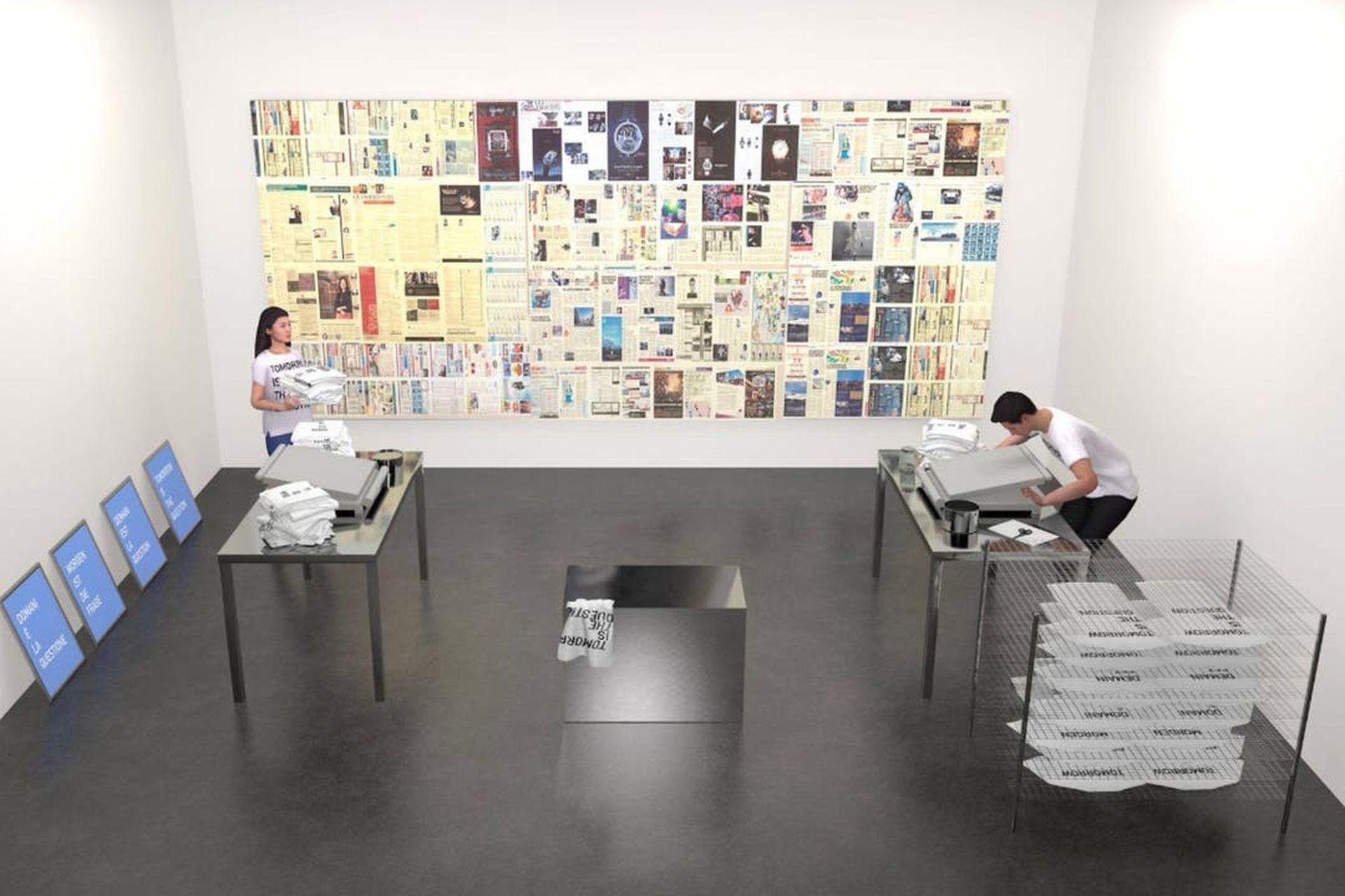 Render de la acción colectiva realizada durante Art Basel OVR, transmitida en streaming e impulsada por la galería Neugerriemschneider