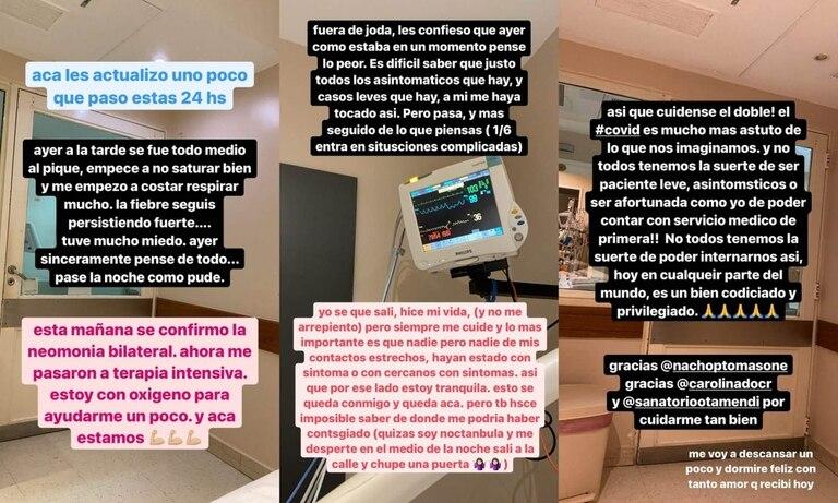 El jueves 4 de febrero, través de sus historias de Instagram, Gao contó que tuvo que ser internada en terapia intensiva y agradeció las muestras de apoyo de sus seguidores