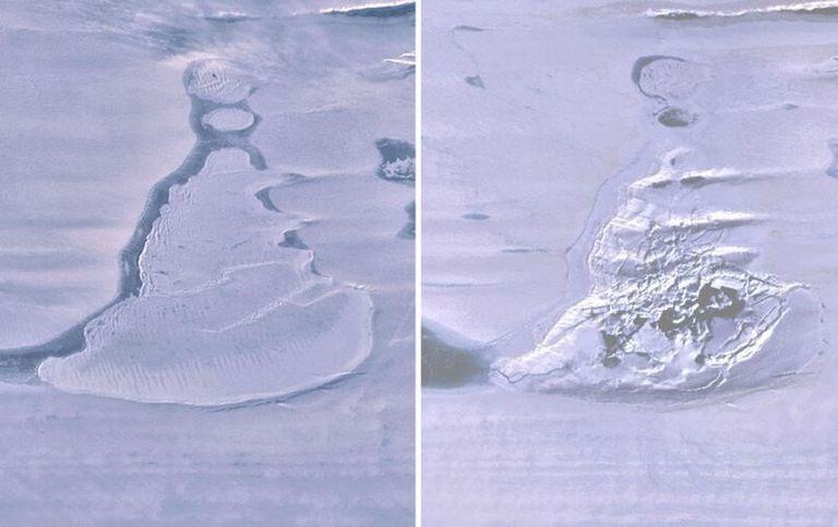 Imágenes de Landsat 8 sobre la plataforma de hielo del sur de Amery muestran el lago cubierto de hielo antes del drenaje y la dolina de hielo resultante con agua de deshielo de verano