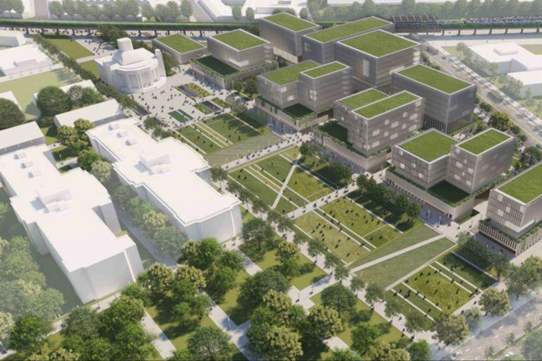 Una ilustración de cómo quedaría representado el proyecto ganador, con el Pabellón del Centenario incorporado al espacio público en la traza verde del centro de la imagen