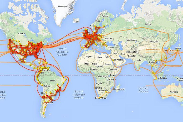 Un mapa con todas las conexiones globales de Level 3 que permiten el funcionamiento de las diversas redes regionales y locales que conforman Internet