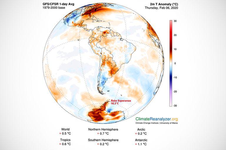 Un mapa de temperatura creado por la Universidad de Maine