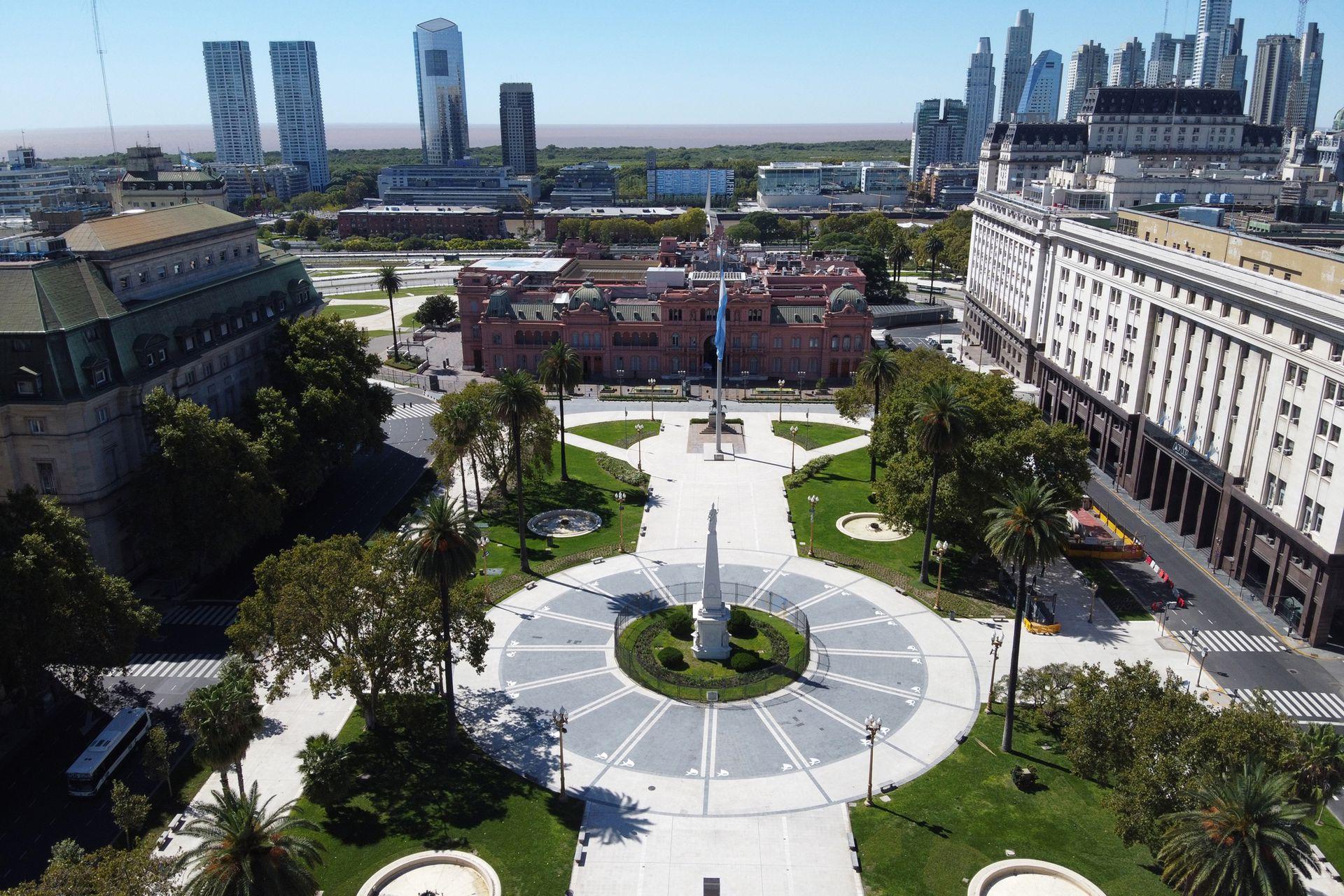 Vista de la plaza de Mayo en la ciudad de Buenos Aires