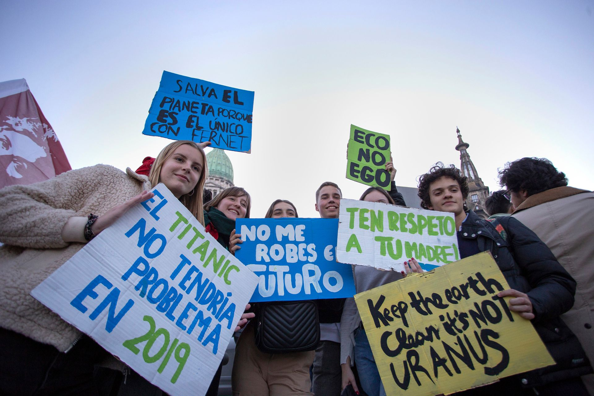 Chicos argentinos se suman a la manifestación mundial por el cambio climático, el 24 del mes pasado