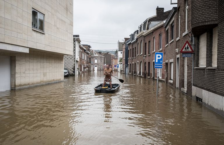 Inundaciones en Angleur, en la provincia belga de Lieja (AP Photo/Valentin Bianchi)