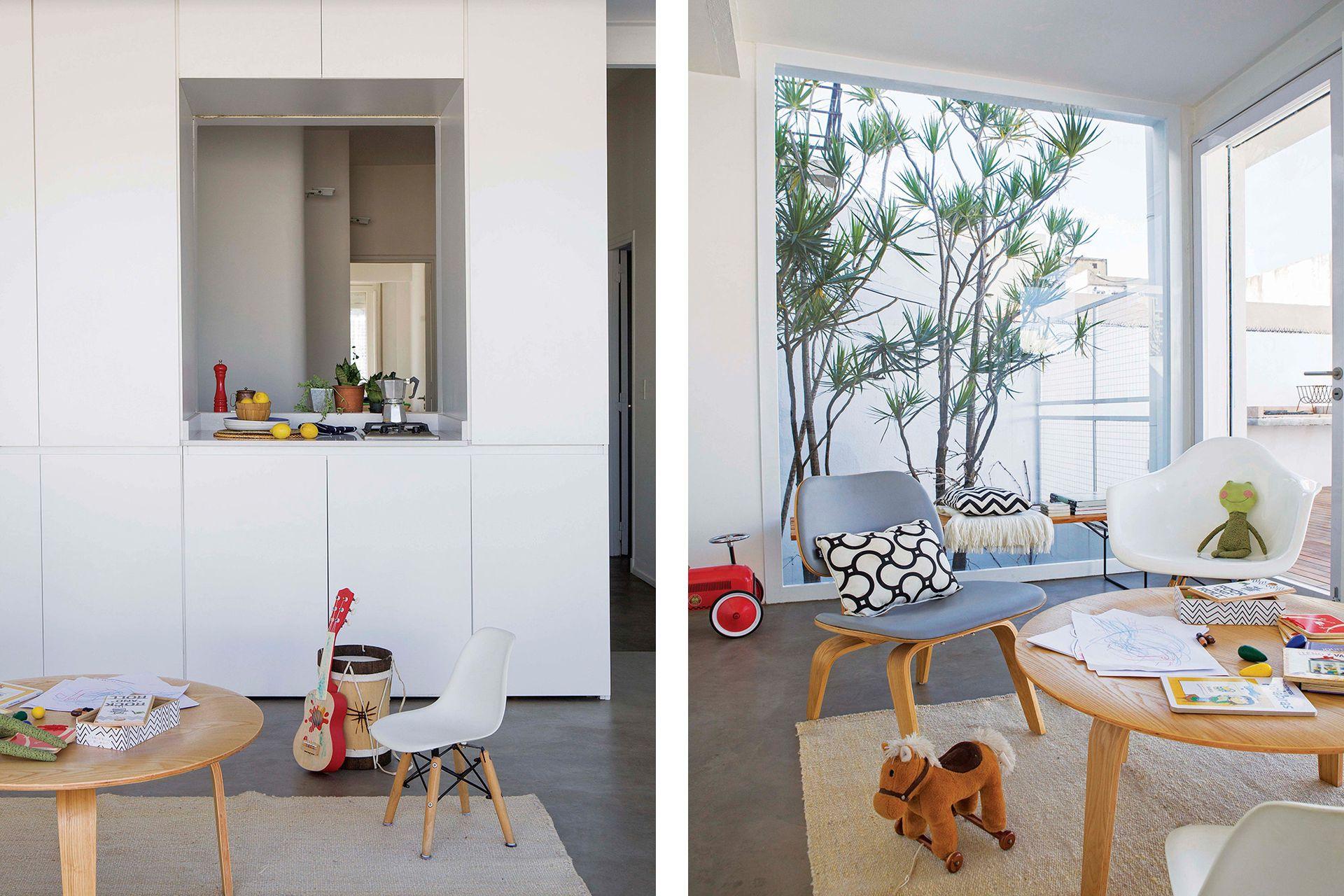 Una habitación que daba a la terraza se convirtió en este luminoso espacio de usos múltiples.