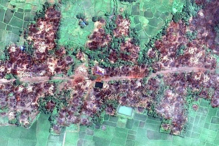 Imágenes satelitales de Myanmar mostraron la destrucción de pueblos habitados por los rohingya.