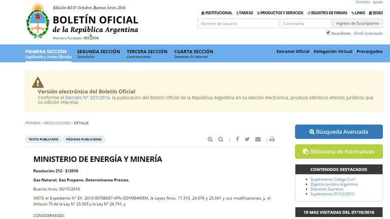 Las arifas  del gas, en el Boletín Oficial