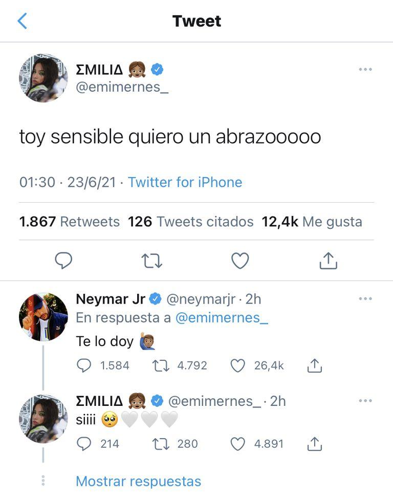 El nuevo ida y vuelta en redes entre Emilia Mernes y Neymar