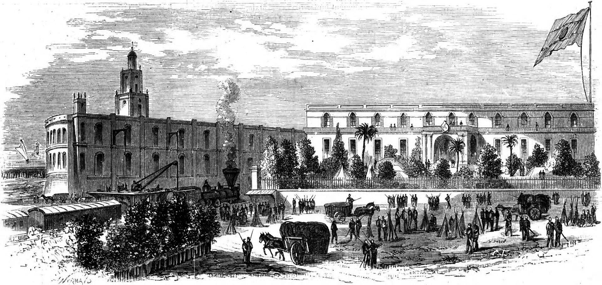 Tropas en la Casa de Gobierno durante la Revolución de 1874. A la izquierda se ve la Aduana Taylor y, a la derecha, la primitiva Casa Rosada.