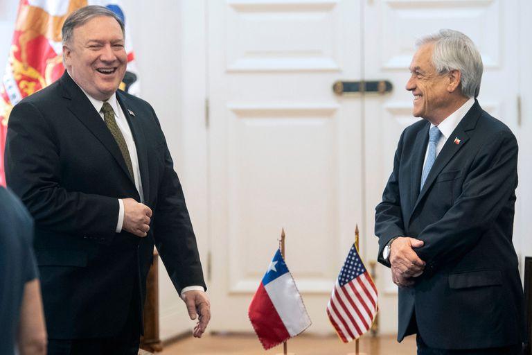 Pompeo y el presidente de Chile, Sebastián Piñera