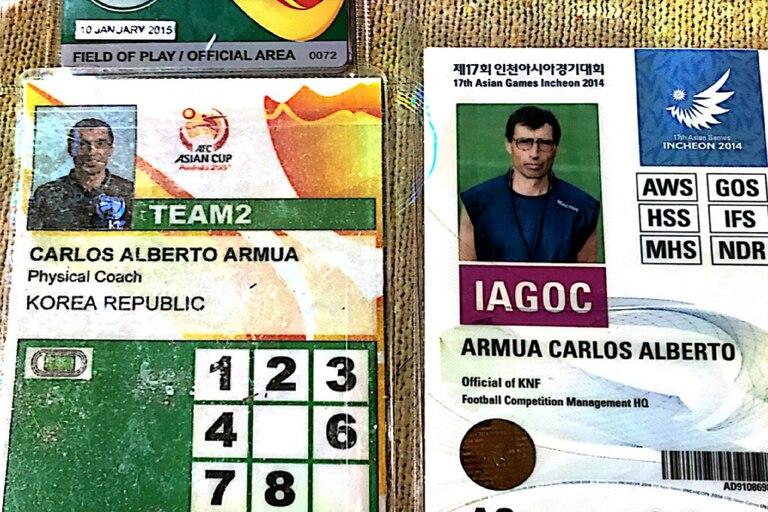 Credenciales usadas por Armúa en partidos de la selección surcoreana.