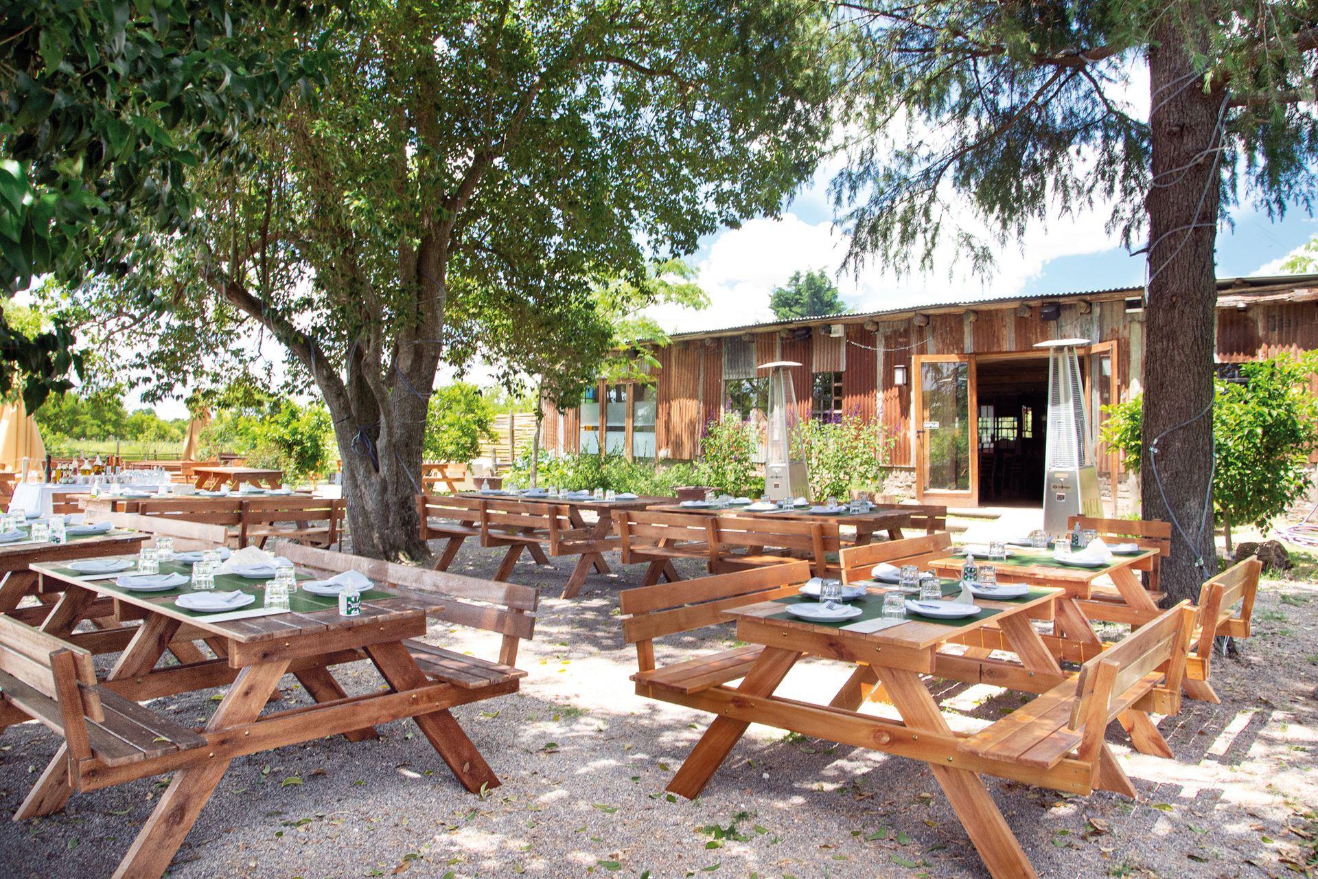A la sombra de los árboles se encuentran las mesas desde donde se aprecia el campo quebrado típico de la zona de Cardales.