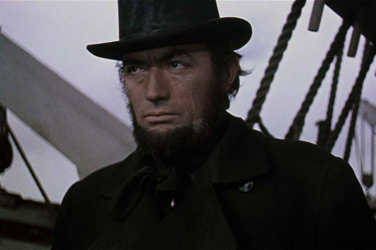 Gregory Peck como el capitán Ahab, dirigido por John Huston en Moby Dick (1956)