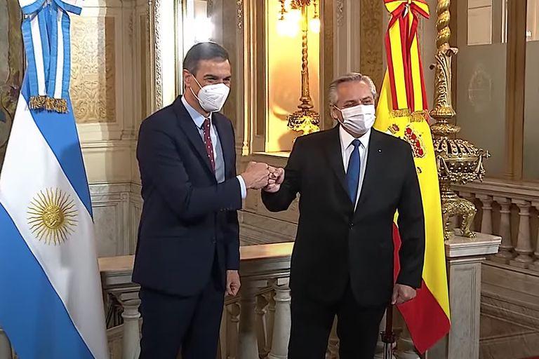 Alberto Fernández recibe a su par español Pedro Sánchez, en Casa Rosada