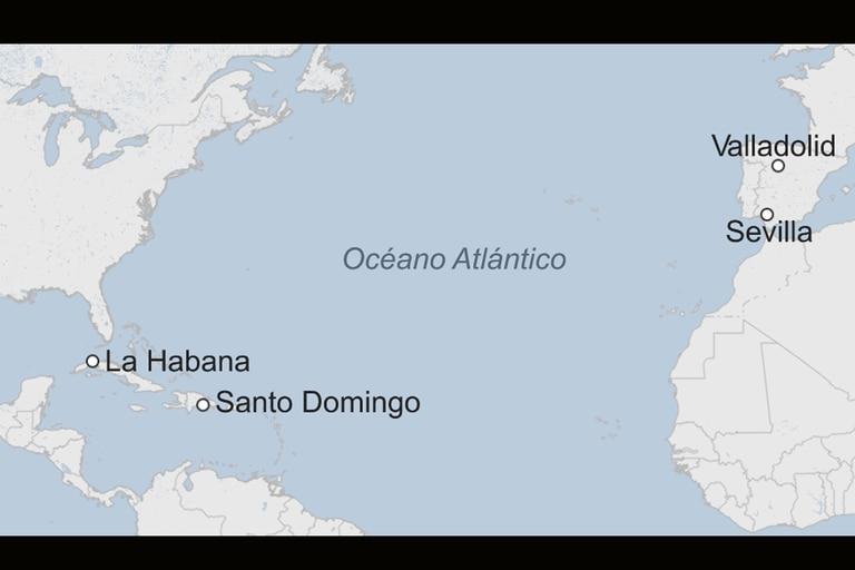 """Dos ciudades del llamado por los europeos """"Nuevo Mundo"""" y otras dos de España forman la travesía que recorrieron los restos de Colón tras su muerte"""