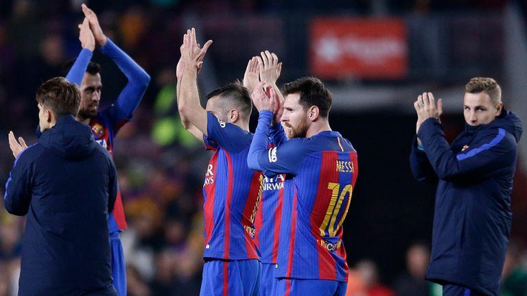 Es el final y Messi festeja la clasificación para la definición de la Copa del Rey