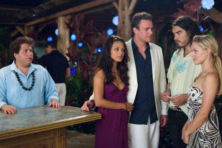 Jonah Hill, Mila Kunis, Jason Segel, Kristen Bell y Russell Brand en la genial Forgetting Sarah Marshall