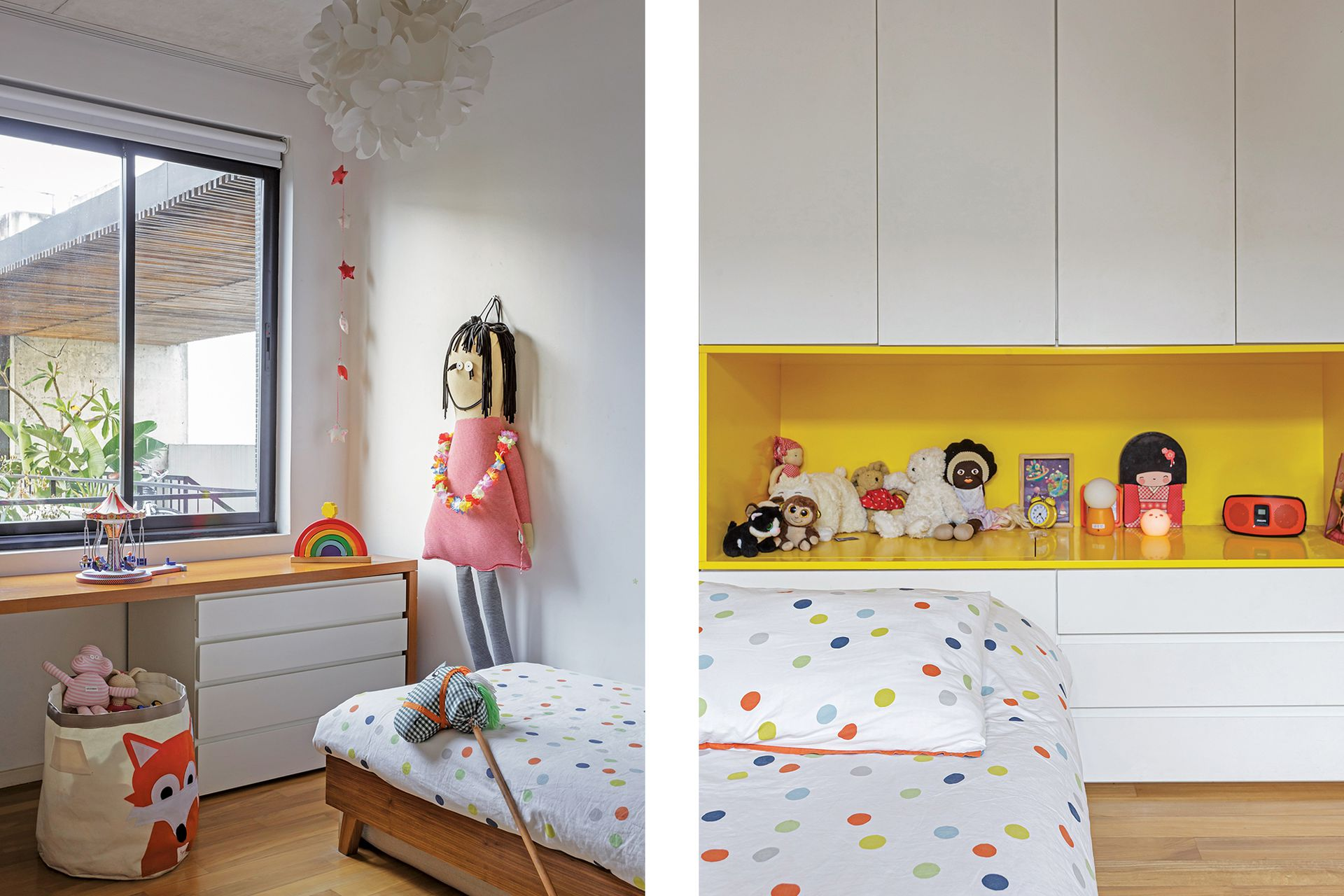 El cuarto infantil tiene muebles con frente de madera laqueada (diseño de Estudio G M GR), cama (Pipí Cucú) y muñeca (Sopa de Príncipes).