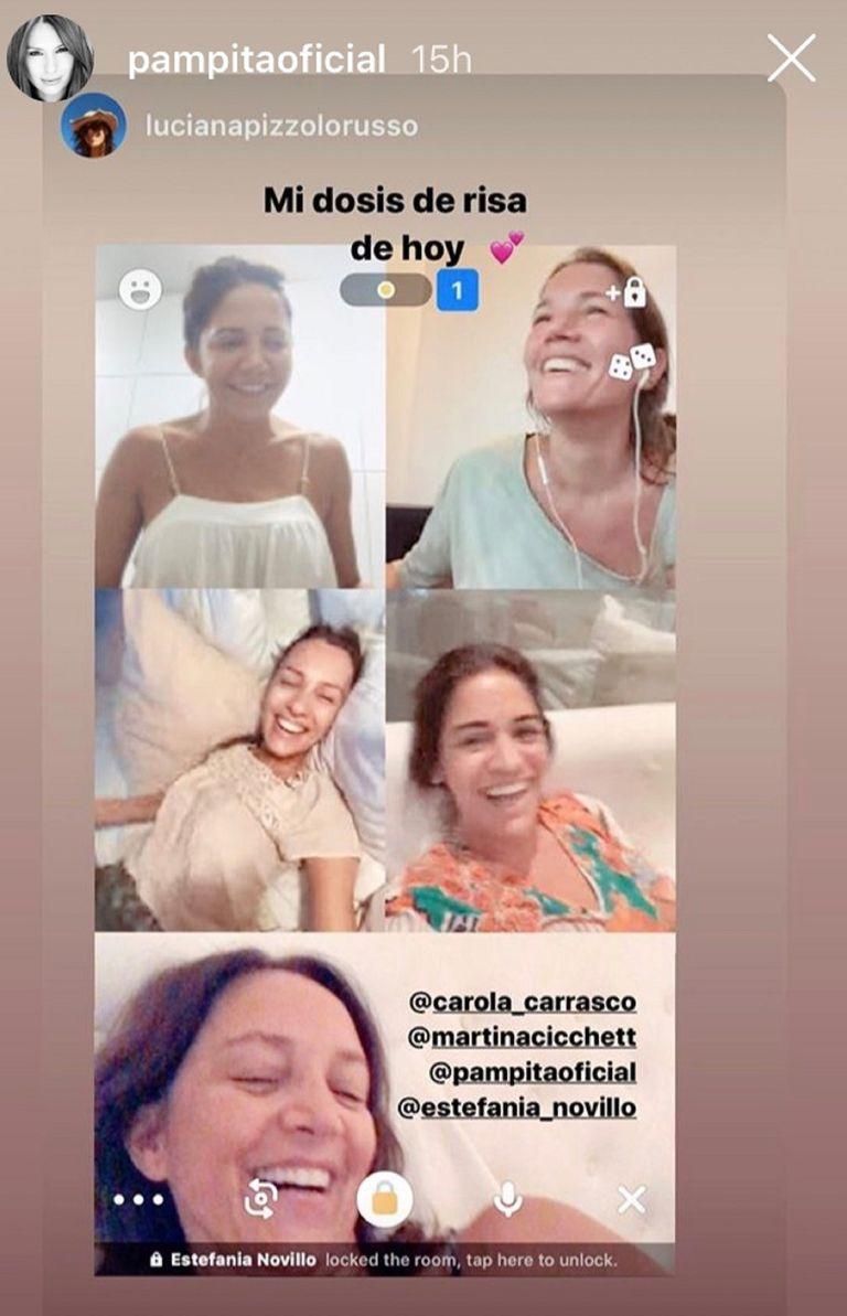Captura de pantalla de una llamada grupal que Carolina mantuvo con sus amigas