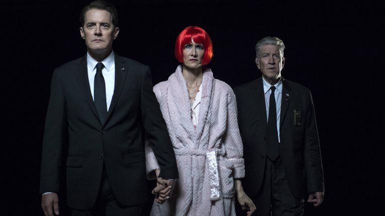 Kyle MacLachlan, Laura Dern y David Lynch en Twin Peaks