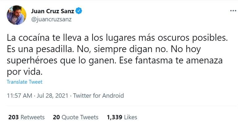 """El primero de los tuits con los que Juan Cruz Sanz se solidarizó con Santiago """"Chano"""" Moreno Charpentier"""