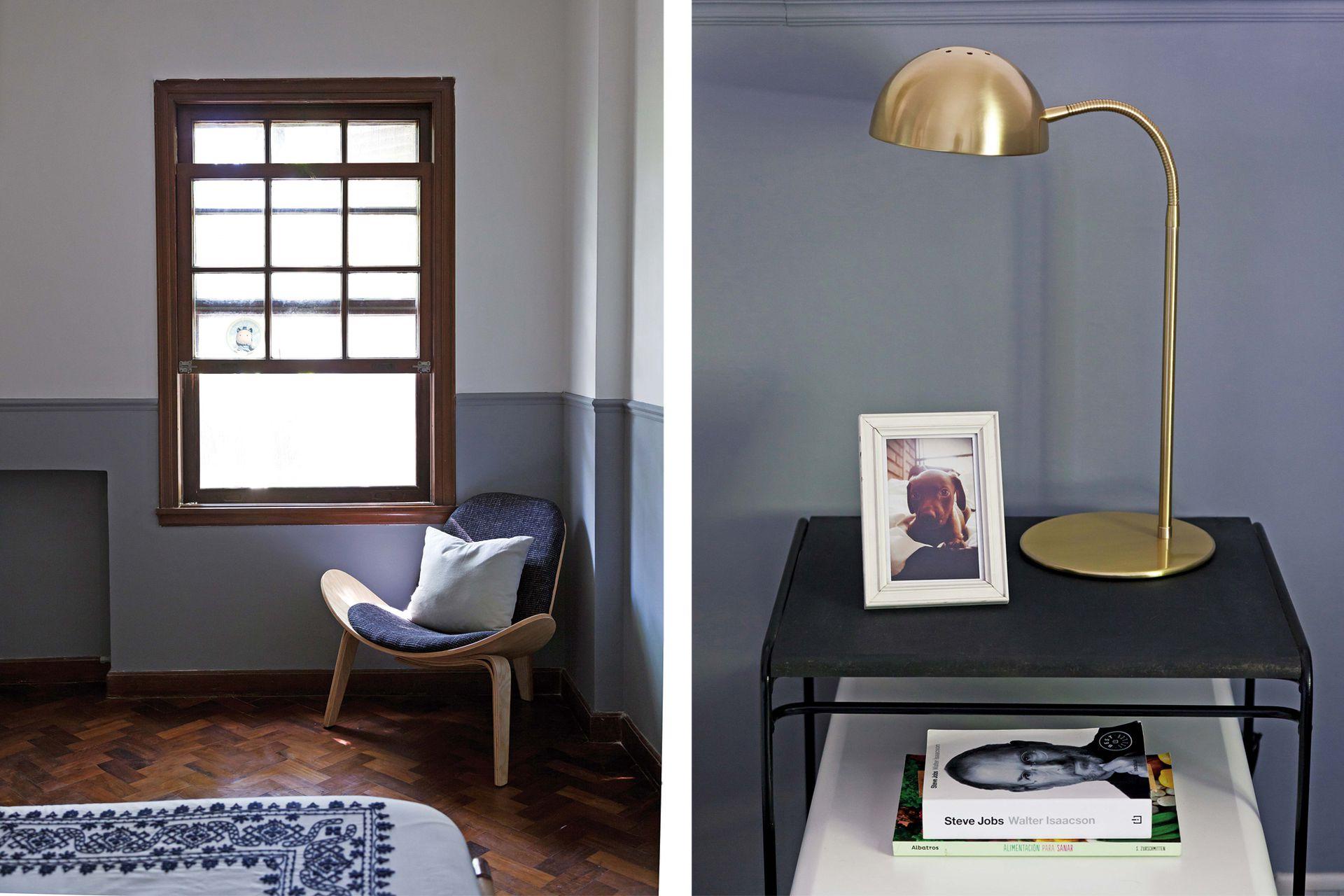 Poltrona 'Hansen' (Kikely). Veladores de bronce (Astor Luces) y mesa de luz 'Olivia' (Pennsylvania Interiorismo).