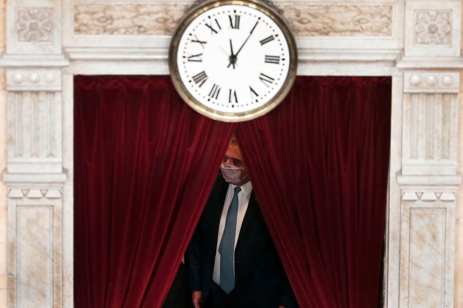 El Presidente Alberto Fernández minutos antes de la apertura de las Sesiones Legislativas en el Congreso de La Nación
