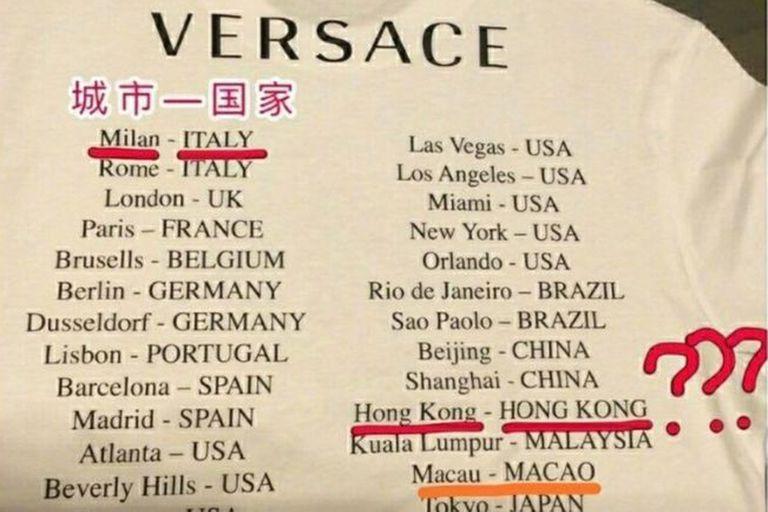 La disculpa de Versace por la camiseta que desató una polémica en China