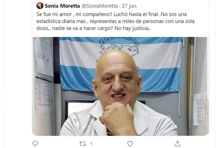 El tuit de Sonia Moretta para despedir a su marido, Gustavo Durán