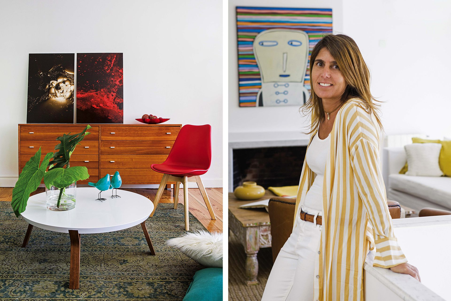 """Aparador de estilo escandinavo de su primera casa, con fotografías montadas y apoyadas sobre la pared de la serie """"Cosmos"""" (Lucila Cummins). A la derecha, Carolina."""