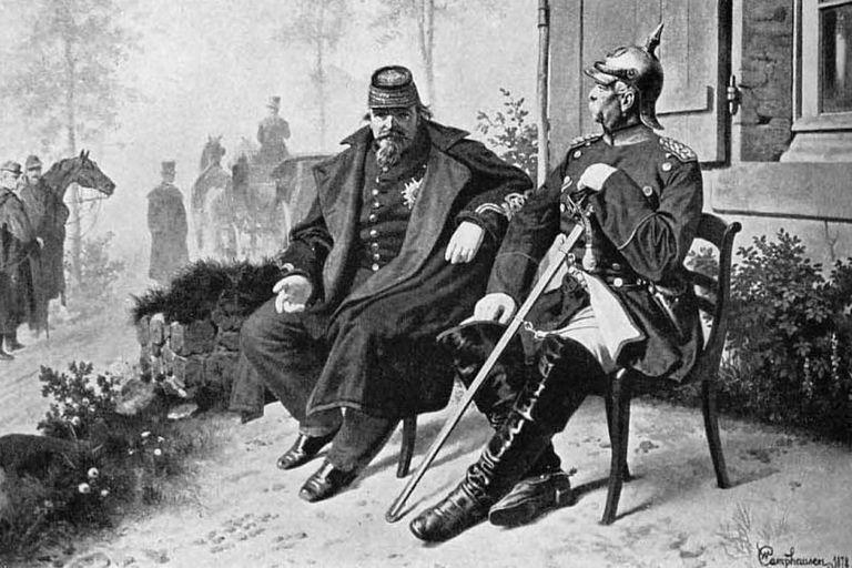 Napoleón III y Otto von Bismarck reunidos luego de la capitulación francesa, en 1871