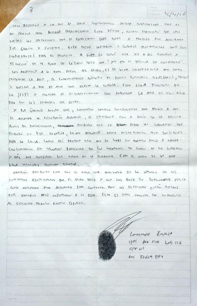 Quinta página de la ampliación de la declaración de Fariña ante el juez Casanello