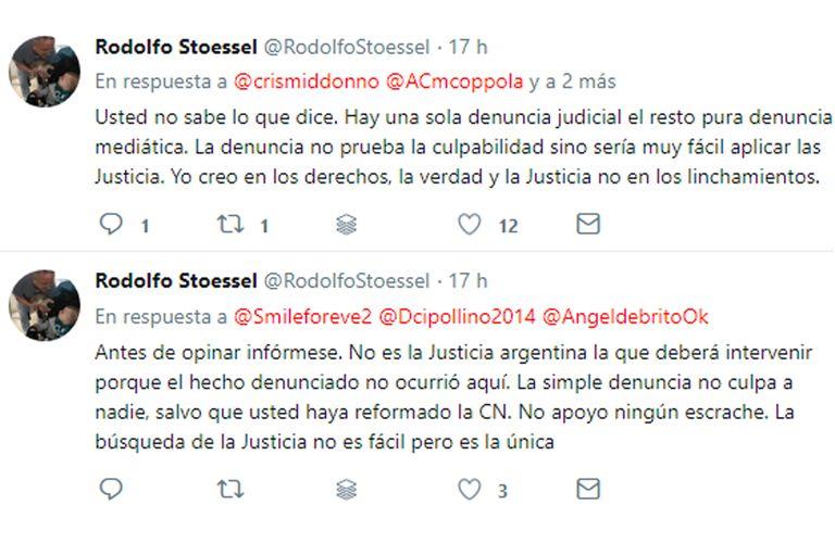 Algunos de los tuits Rodolfo Stoessel defendiendo a Darthés