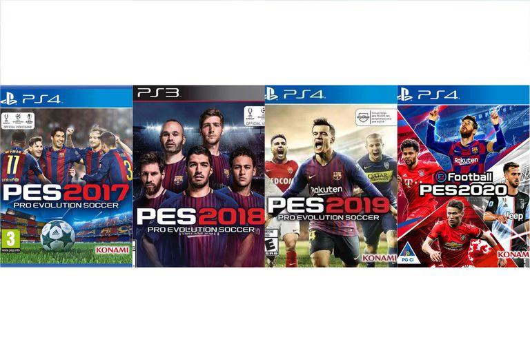 Las últimas cuatro entregas del PES, con Messi como protagonista del 2017, 2018 y ahora en el 2020