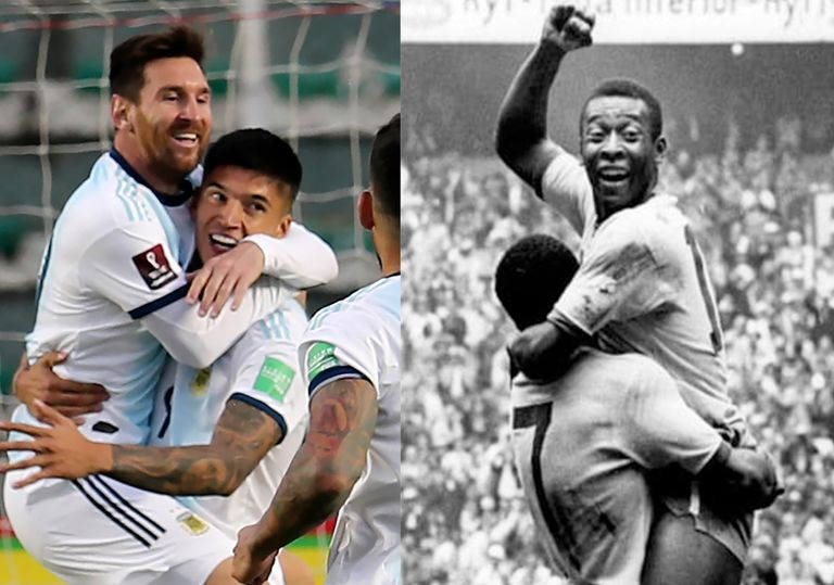 Lionel Messi y Pelé, en andas, elevados; apenas dos goles separa al argentino de un récord que O Rei impuso hace cinco décadas