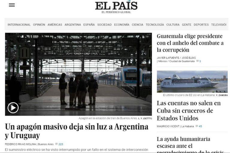 El País, de España, informa del apagón masivo por un fallo en el sistema de interconexión