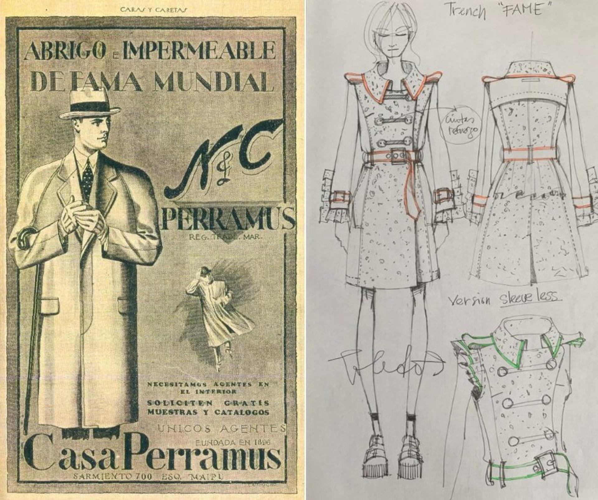 Un aviso publicitario de Perramus de antaño, y un boceto de Mariano Toledo, director creativo de Perramus New Generation