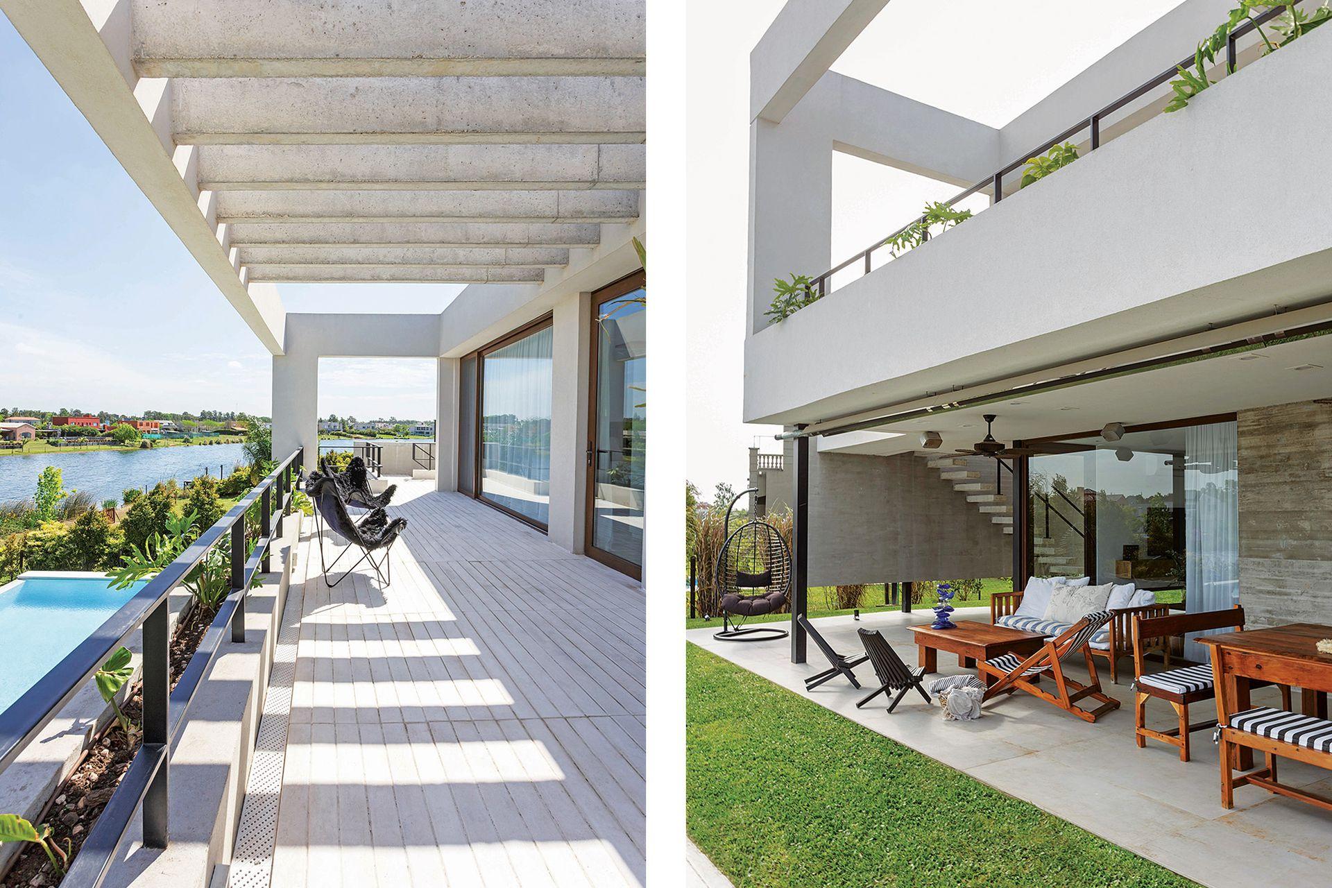 La pérgola de hormigón protege las ventanas de la suite principal del impacto directo del sol.