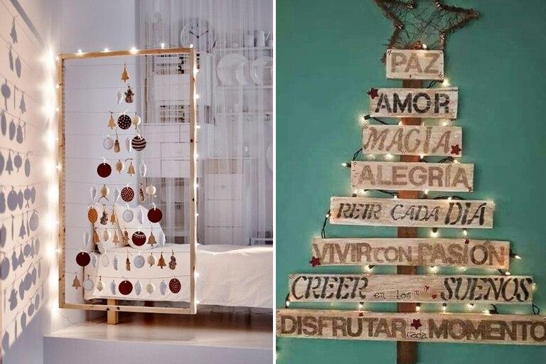 ¿Qué te parece este árbol construido a partir de un cuadro de madera? A nosotras nos encantó. Otra idea muy simple y práctica es la que está hecha con maderitas y frases de deseo; ¿Qué te parece?