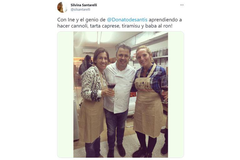En una publicación de 2015, se puede ver a Santarelli junto al chef Donato de Santis