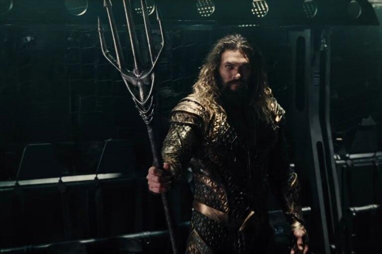 Jason Momoa en la piel de Aquaman para el film de la Liga de la justicia.
