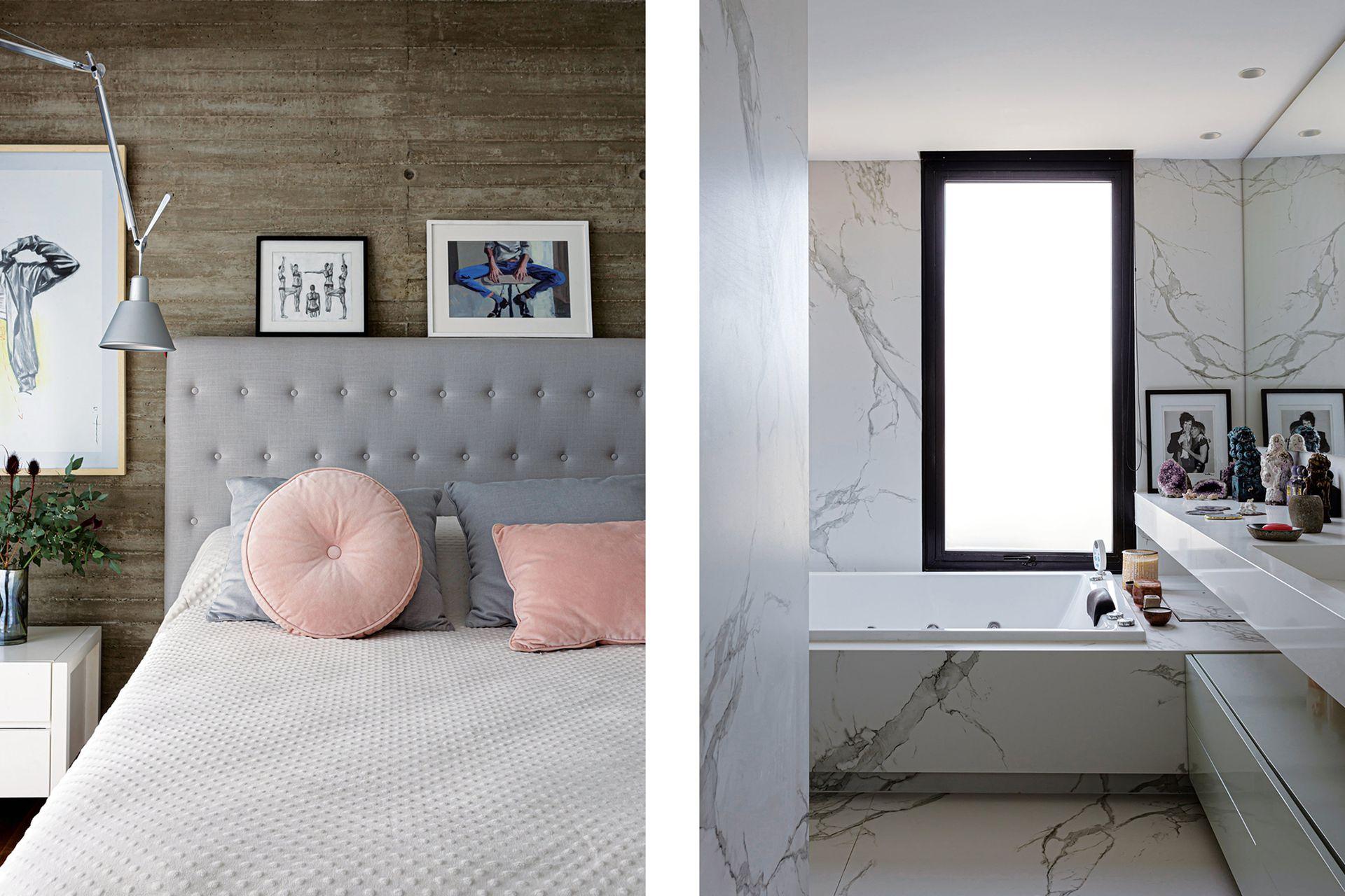 En el dormitorio femenino, sobre el respaldo capitoné de lino gris, obras de Camila O'Gorman y María Ana Fromm. Detrás de la lámpara Artemide (Alejandro Lo Grasso), dibujo de Marcos Herrera.