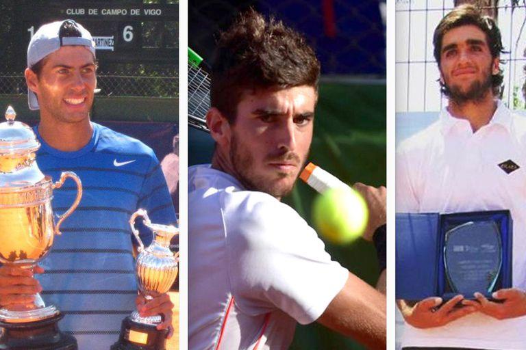 Mateo Martínez, Franco Agamenone y Luciano Tacchi, los tenistas argentinos que dieron positivo en Pinamar