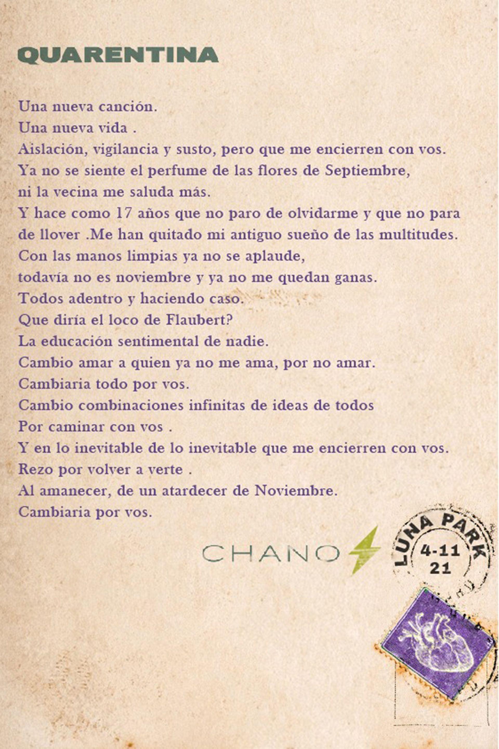 """""""Quarentina"""", con la firma de Chano"""