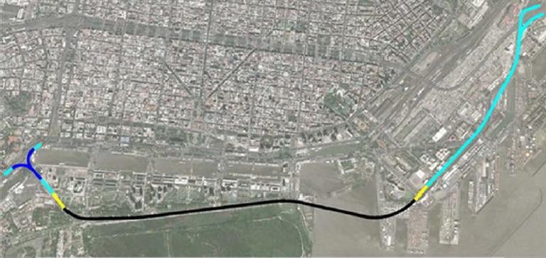 La traza de uno de los proyectos se desarrollaba entre el Boulevard de los Italianos y se vinculaba a través de la autopista Buenos Aires - La Plata por un distribuidor en forma de trompeta