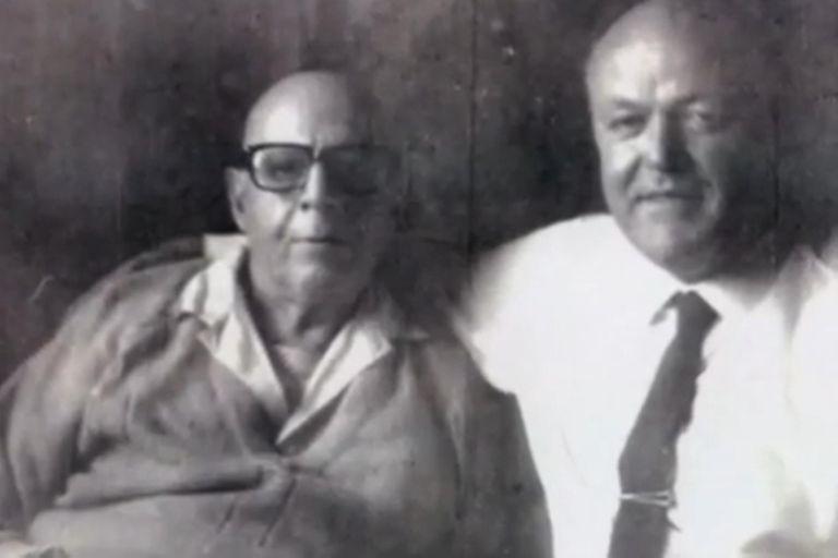 Benjamín Solari Parravicini (izq.), tres meses antes de morir