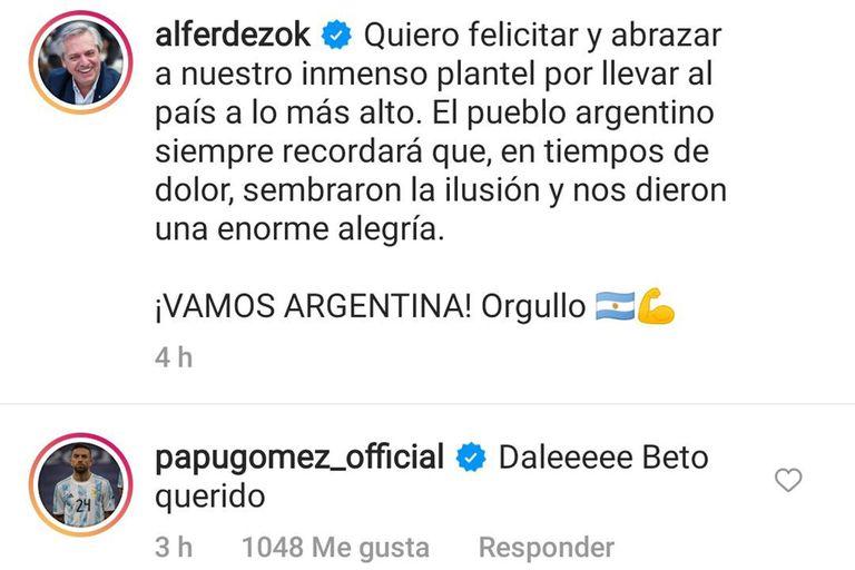 El mensaje del presidente Alberto Fernández y la respuesta de Alejandro Papu Gómez