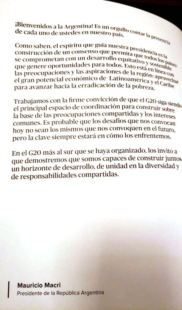 La carta de Mauricio Macri que esperaba a los invitados a Argentum